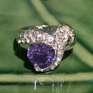 💥5/$25💥 Saphire & Crystal Silver Ring Sz 6.5
